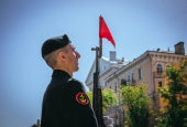Астраханские казаки прошли маршем в День Победы