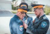 Астраханские казаки прошли маршем в честь 75-летия Победы